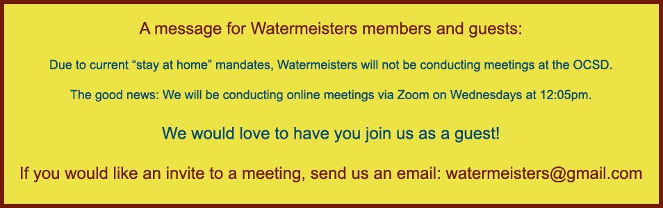 Watermeisters is meeting online!
